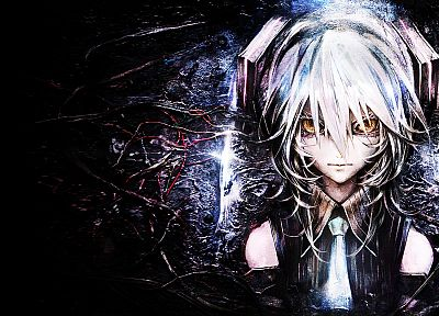 Vocaloid, Hatsune Miku, yellow eyes, white hair, Hagane Miku, detached sleeves, Banpai Akira, Vocaloid Fanmade - random desktop wallpaper