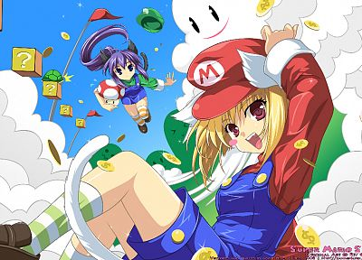 Mario, animal ears, anime girls - desktop wallpaper