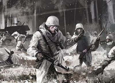 soldiers, war, artwork - related desktop wallpaper