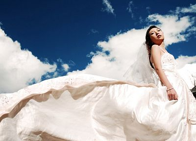 women, brides, Asians, skyscapes - random desktop wallpaper