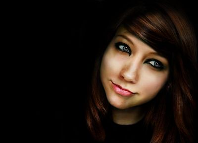 women, models, Boxxy, smiling, photo manipulation, black background - desktop wallpaper
