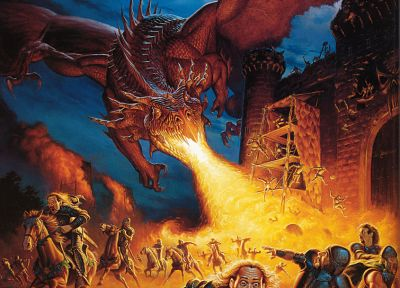 wings, castles, dragons, fire, fantasy art, artwork, Todd Lockwood - related desktop wallpaper