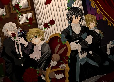 brunettes, blondes, flowers, ribbons, Pandora Hearts, stuffed animals, throne, anime, anime boys, Gilbert Nightray, Oz Vessalius, white hair, Xerxes Break, Vincent Nightray, flower petals, white gloves - related desktop wallpaper