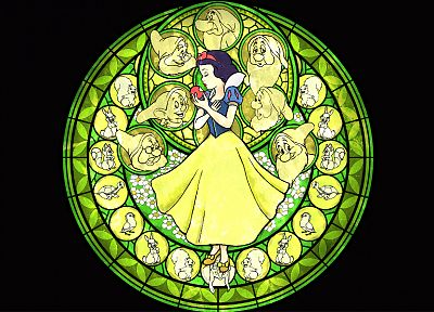 Kingdom Hearts, Snow White, stained glass - random desktop wallpaper