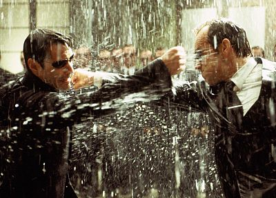 rain, Neo, Matrix, Agent Smith, The Matrix, screenshots, sunglasses, Keanu Reeves, Hugo Weaving - desktop wallpaper