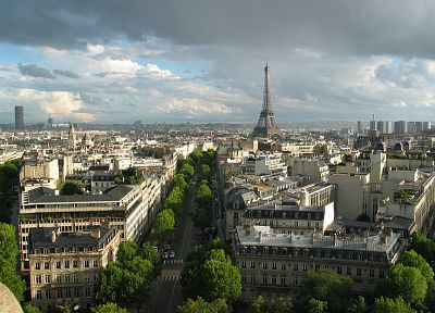 Eiffel Tower, Paris, clouds, cityscapes, buildings, Europe - desktop wallpaper