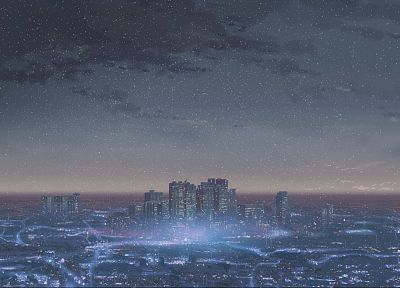 cityscapes, architecture, buildings, Makoto Shinkai - desktop wallpaper