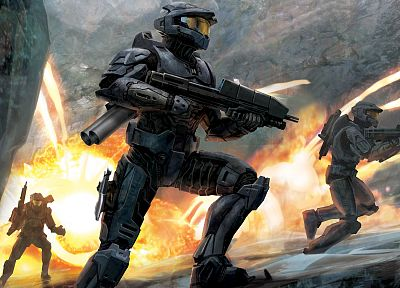 rifles, soldiers, video games, Halo, Spartan IV - desktop wallpaper