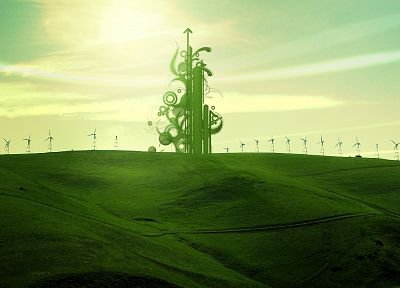 green, design, fields, shapes - random desktop wallpaper