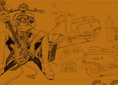 FLCL Fooly Cooly, guitars, Haruhara Haruko, simple background - desktop wallpaper