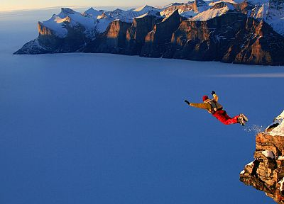 mountains, landscapes, snow, jumping, BASE Jumping, arms raised - random desktop wallpaper