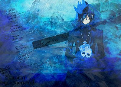 skulls, blue, lyrics, Pandora Hearts, crowns, anime, anime boys, Gilbert Nightray - desktop wallpaper