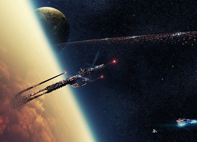 outer space, spaceships, asteroids, vehicles - desktop wallpaper