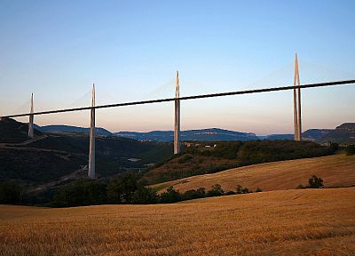 landscapes, France, bridges, Millau viaduct, skyscapes - random desktop wallpaper