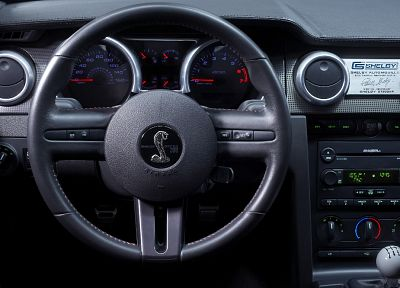 car interiors, steering wheel, Ford Mustang Shelby GT500 - desktop wallpaper