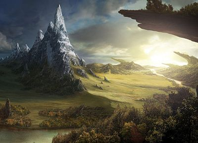 mountains, landscapes, digital art, artwork - related desktop wallpaper
