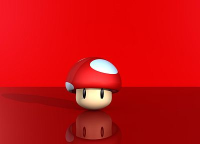 Nintendo, red, Mario Bros, mushrooms, simple background, red background - desktop wallpaper