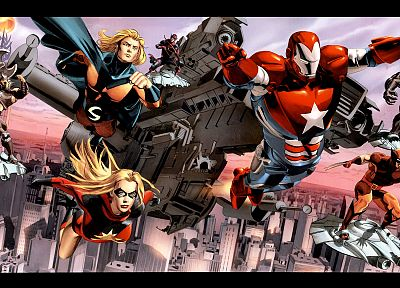 comics, Venom, Wolverine, Marvel Comics, Dark Reign, Sentry, Ares, Iron Patriot - desktop wallpaper