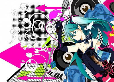 women, Vocaloid, white, Hatsune Miku, twintails, microphones - related desktop wallpaper