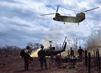 soldiers, aircraft, army, military, helicopters, Viet Nam, vehicles, CH-47 Chinook, UH-1 Iroquois - desktop wallpaper