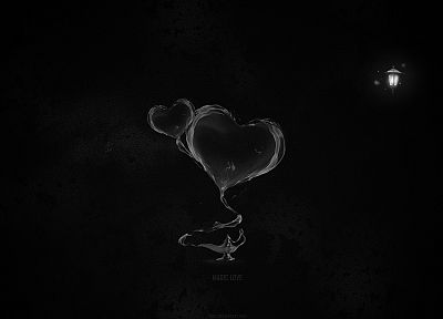 abstract, black, minimalistic, lamps, magic, hearts, black background - related desktop wallpaper