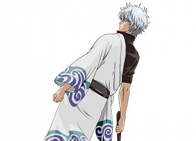 Gintama, simple background, Gintoki Sakata - desktop wallpaper