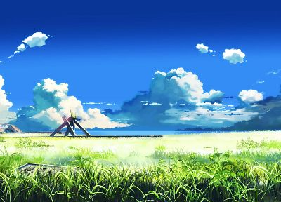 clouds, Makoto Shinkai, anime, The Place Promised in Our Early Days, Beyond The Clouds, abandoned - desktop wallpaper