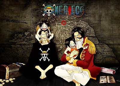One Piece (anime), pirates, Ace, wine, maps, skull and crossbones, anime, treasure, adventure, candles, Monkey D Luffy, Monkey D Dragon, Gol D Roger, Portgas D Ace - random desktop wallpaper