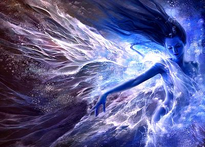 women, water, blue, fantasy art, artwork, effects - desktop wallpaper