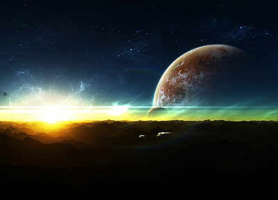 sunset, outer space, stars, planets, spaceships - desktop wallpaper