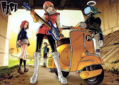 FLCL Fooly Cooly, school uniforms, Canti, Haruhara Haruko, looking back, sailor uniforms, Nandaba Naota, Samejima Mamimi, knee socks - desktop wallpaper