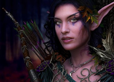 World of Warcraft, elves, archery, photo manipulation - random desktop wallpaper