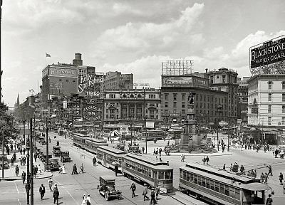 cityscapes, vintage, streetcars - desktop wallpaper