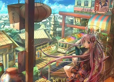 trains, pink hair, Fuji Choko, soft shading, anime girls, original characters - random desktop wallpaper