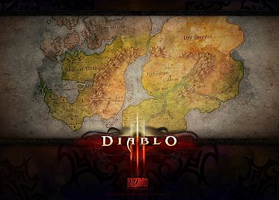 video games, Diablo, maps, Diablo III - related desktop wallpaper
