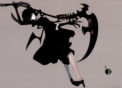 women, wings, Black Rock Shooter, scythe, Dead Master, horns, weapons - desktop wallpaper