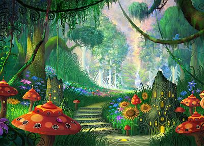 landscapes, forests, fairies, artwork, Philip Straub - desktop wallpaper