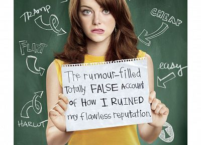 women, Emma Stone, Easy A, movie posters - related desktop wallpaper