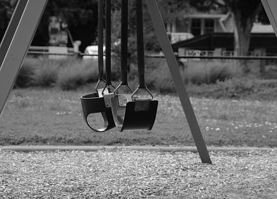 black and white, swings - random desktop wallpaper