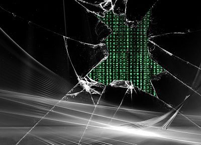Matrix, broken screen - desktop wallpaper