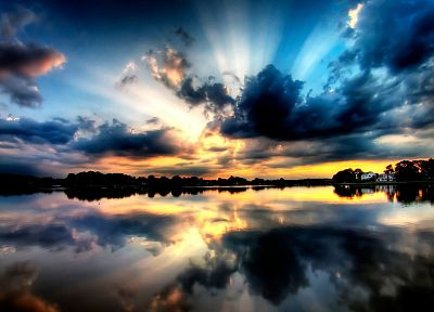 sunset, clouds, landscapes, lakes, reflections - related desktop wallpaper