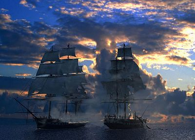 ships, battles, sail ship, sails - desktop wallpaper