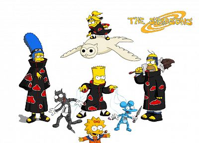 Homer Simpson, Naruto: Shippuden, Akatsuki, The Simpsons, Bart Simpson, Lisa Simpson, Maggie Simpson, crossovers - desktop wallpaper