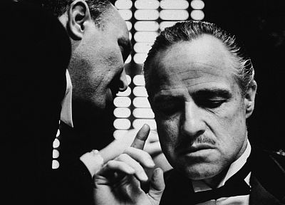 movies, The Godfather, monochrome, Vito Corleone, Marlon Brando, movie stills - related desktop wallpaper
