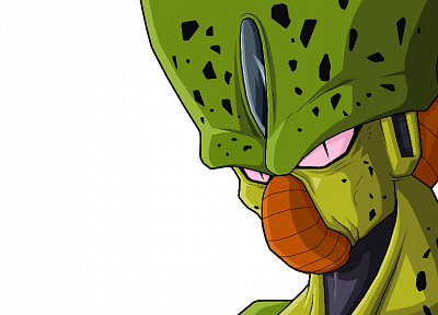 Cell, Dragon Ball Z, simple background, Imperfect Cell - desktop wallpaper