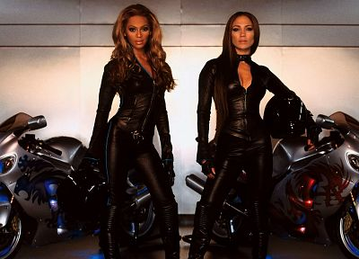 Jennifer Lopez, Beyonce Knowles, motorbikes - desktop wallpaper