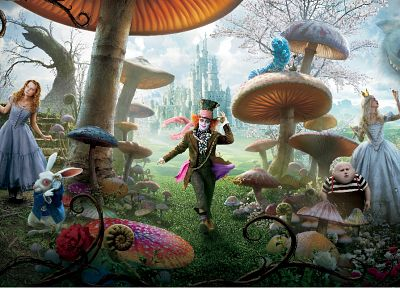 movies, Alice in Wonderland, Mad Hatter, Mia Wasikowska, Cheshire Cat, Alice Kingsleigh - related desktop wallpaper