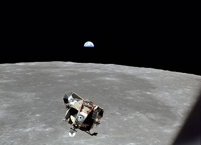 Moon, Earth, earthrise, luna, spaceships, vehicles, Apollo 11, Lunar Lander - popular desktop wallpaper