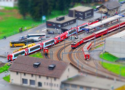trains, tilt-shift - desktop wallpaper