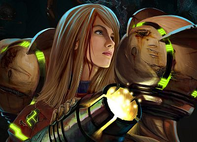blondes, Metroid, women, futuristic, Samus Aran, Metroid Prime, varia, artwork - desktop wallpaper